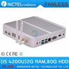 Fanless mini pc 4K with Intel Core i5 4200U 1.6Ghz CPU Haswell Architecture SOC design 2G RAM 80G HDD Linux