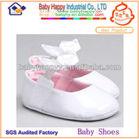 Wholesale real PU leather white dress baby shoe