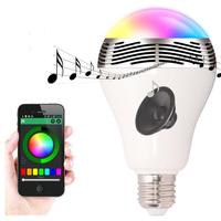 Smart e27 led bulb lamp pulse bluetooth mini portable amplifier speaker for degitia devices