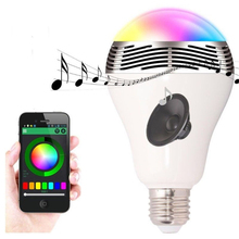 Smart e27 led bulb lamp pulse bluetooth mini portable amplifier speaker for degitia devices
