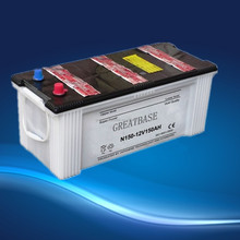 automotive lead battery 12V150Ah auto car battery N150 dry charged auto/automobile/car starting battery JIS