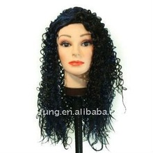 22 inch Long Off black,Blue medium spirals synthetic wig