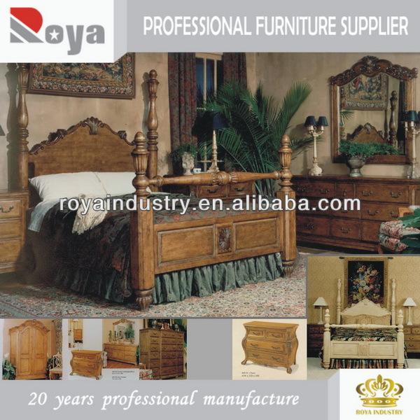 460 cuatro publicado cama tallado en madera s lida - Muebles de dormitorio antiguos ...