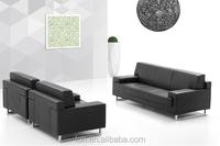 Dubai Black Leather Sofa/Divan Sofa for 3 People (FOH-ZS-006)