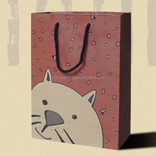 Custom cartoon cute animal paper coffee take away bags shopping carrier with cotton ropes