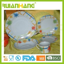 Porcelain ,colorful cross flowers pattern design, elegant rural style dinnerware set