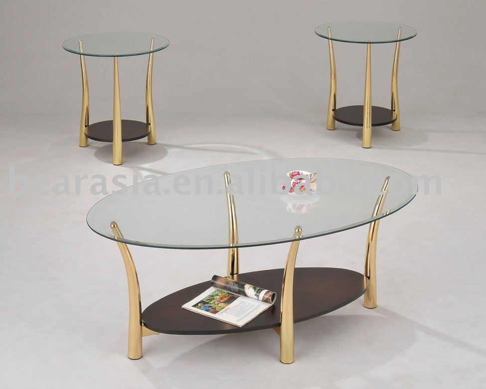 Golden classic tempered glass home furniture living room for Glass living room furniture