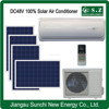 Split wall mounted DC48V 100% solar powered air conditioner 24h