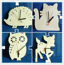 custom laser cut wooden animal watch crafts for home decoration