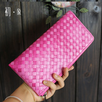 2014 summer new candy color woven clutch purse sheepskin leather handbags wallet