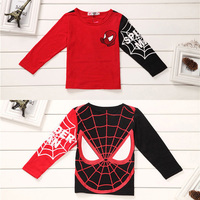 Hot sale Kids Boys Baby Girls Spiderman Hero T-shirt long Sleeve kids Tops 100%cotton children's Clothes