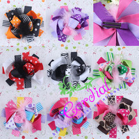 New Arrival Custom Fancy Artificial Ribbon Hair Bows Easter Kids Hair Bows With Feather For Kids