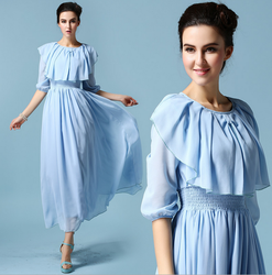 2015 HOT SALE LONG DRESS FOR LADY FANCY BLUE CHIFFON MAXI DRESS