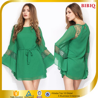 2016 Trendy Lady Lace Casual Dresses Solid Color Batwing Sleeves Peplum