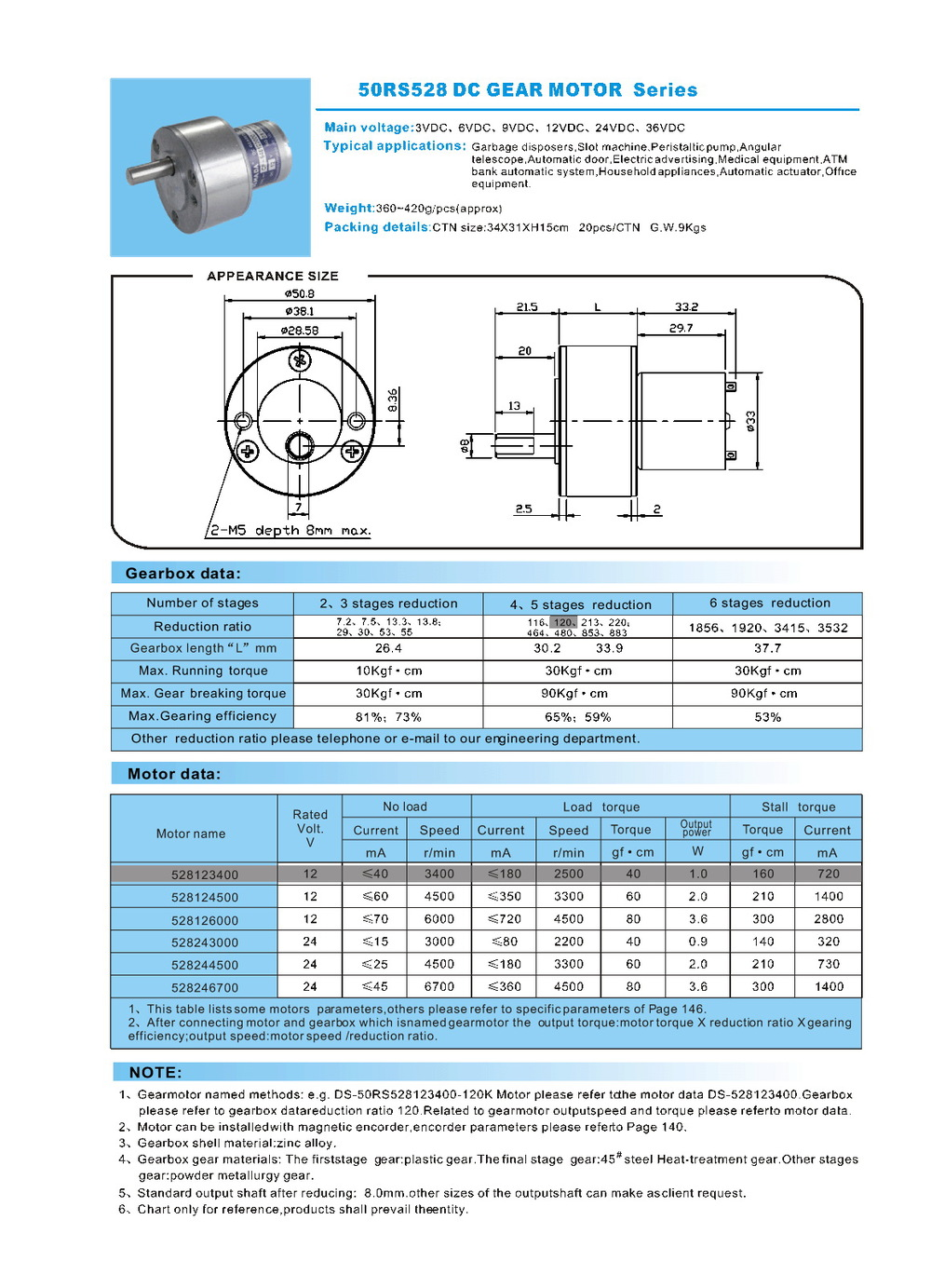 DC Gear Motor 50RS528 50mm 3000rpm 6000rpm customize dc motor