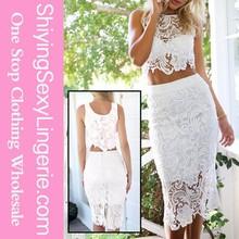 Sexy partido Lace saia com top colheita elegante blusa e saia modelos de saia e blusa define