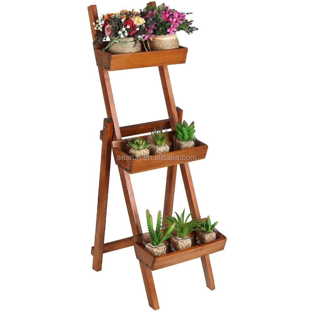 Elegant wooden plant rack flower planter shelf buy for Plant shelf plans