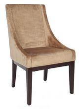 Mink brown velvet upholstered arm chair