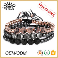 Jewerly Fashion 316l Stainless Steel Bead With Zircon Ball Friendship Bracelet