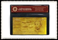 Art and Collectibles 24k Gold Old Australia 20 Dollar Gold Foil Banknote with COA Frame