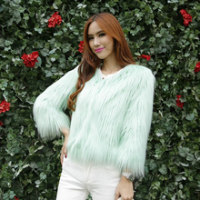 2015 latest fashion chinese wholesale women faux fur jacket young ladies green fur coat snap fastener name brand clothes