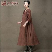 New arrival elegant maxi three quarter sleeve wool one piece dress