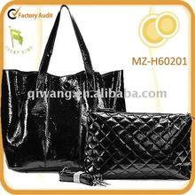 stylish patent geunine leather bag with quilted functional organizer bag