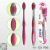Comfortable adult toothbrush with tongue cleaner