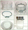 canned clear square storage jar seasoning bottle sauce pot with round cap