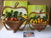 Eco-friendly Collapsible Apple Shaped Food Storage Bamboo Fruit Basket
