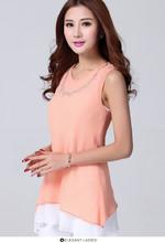 De la señora 2015 nuevo diseño u- cuello manga corta blusa de gasa
