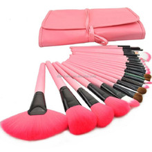 Luxury leather bag package 24pcs comestic brushes makeup brush in pink color