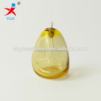 hand blown decorative small glass oil lamp with wicks