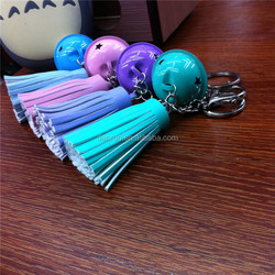 promotion metal custom design gift PU leather tassel key chain with BELL