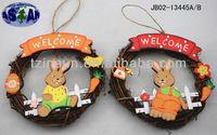 Easter wooden rattan wreath decoration JB02-13445