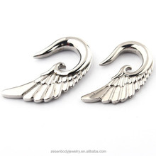 Wholesale angel wings stainless steel ear sprial ear plug tunnels piercing body jewelry