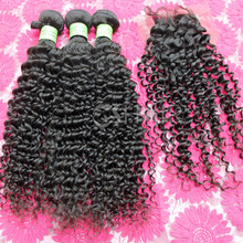 Nature color cheap raw quality deep curl virgin hair bundles with lace closure