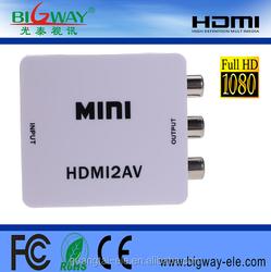 Mini RCA/CVBS/AV to HDMI 720P/1080P Video Upscaling Converter Adapter For HD TV