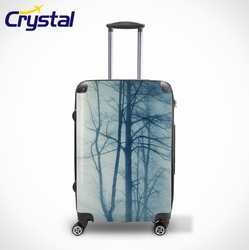 Printed Waterproof Hard-Shell ABS+PC Carry-on Travel Luggage Sets/Colorful Zipper Suitcase/Backpack/Bags, Lady Trolley Luggage