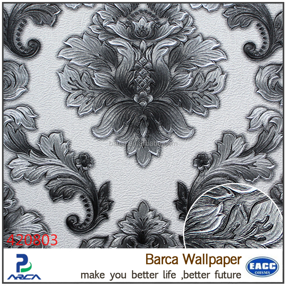 damass papier peint effet 3d papier peint ruban gris. Black Bedroom Furniture Sets. Home Design Ideas
