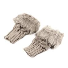Women Ladies Fingerless Gloves For Winter Warm Knitted Faux Wool Mitten Gloves
