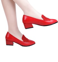 red wedding shoes genuine leather pig leather inside women pumps med heel pumps fashion office ladies shoes