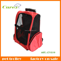 Red Convenient Fold And Carry Dog And Cat Trolley Bag