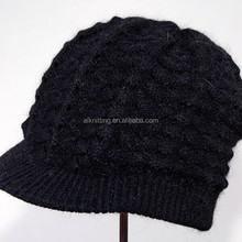 Warm 30% angora custom women winter hats with the brim