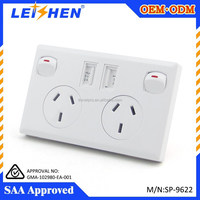 Cheap price SAA usb wall socket with 2 safty electical switch and usb port