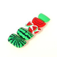 New full cover nail tips, Fresh nails strawberry and watermelon design, scented false fake artificial nails