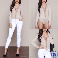 adult sexy latex bodysuits catsuits long sleeve bodysuit nude lace up ribbed bodysuit