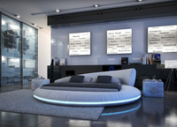 Latest design led lighting leather bed,double size bed,modern round bed SY-C558