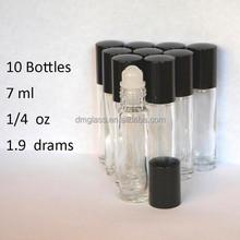Empty 7ml Roll On Bottles Clear Glass Refillable Perfume Oil Roller Ball Bottle