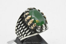 Green Agate Claw Turkish Jewelry 925 Sterling silver mans womans ring size 8.25